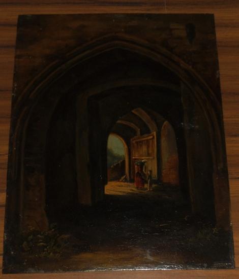 Kromer, Pedor: Zwei Figuren in einer gotischen Architektur. - (Ölbild auf Kupferplatte).