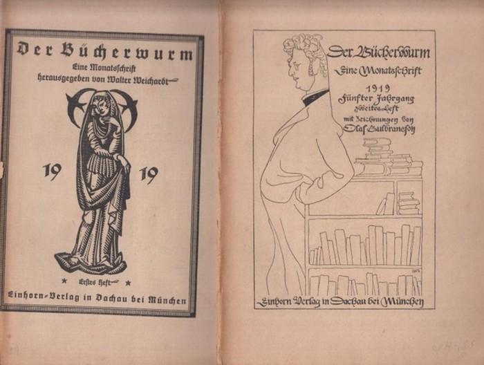 Bücherwurm. - Der Bücherwurm. Eine Monatsschrift für Bücherfreunde. Konvolut mit 18 Heften, enthalten sind: 5. Jg. 1919 Hefte 1 - 6 // 6. Jg. 1920 Hefte 2, 3, 4, 5, 7/8, 9/10 // 7. Jg. 1921 Hefte 1 - 6