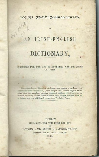 Vere Coneys, Thomas de (Preface): An irish-english dictionary. Intended for the use of students and teachers of irish.