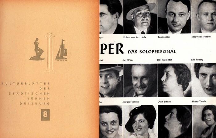 Duisburger Oper-Intendanz (Hrsg.): Kulturblätter der Städtischen Bühnen Duisburg Heft 8 von 1954 / Heft der Duisburger Oper ohne Jahr -ca 1940. Konvolut von 2 Heften.