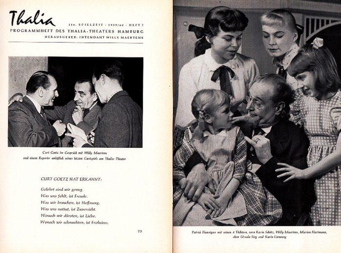 """Goetz, Curt ; Boruff, John. Thalia Theater Hamburg-Willy Maertens-Intendanz (Hrsg.): 114. Spielzeit 1957/58, Heft 6 Deutsche Erstaufführung """"Das Familienparlament"""" ; 116. Spielzeit 1959/60, Heft7 """"Das Haus in Montevideo"""". Programmhe..."""