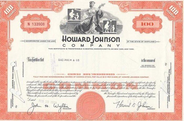 Howard Johnson Company. - Certificate of Stock ( Aktie ). 100 Shares.