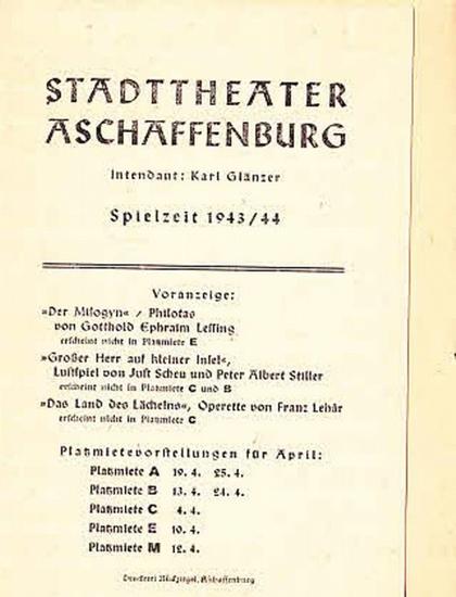 """Thoma, Ludwig. Stadttheater Aschaffenburg-Intendanz- Hrsg.: Besetzungszettel zu """"Moral""""."""