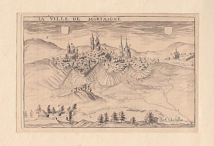 Chastillon, C. [Claude]. (par): Gravure: La Ville de Mortaigne. -- Kupferstich. La Ville de Mortaigne.