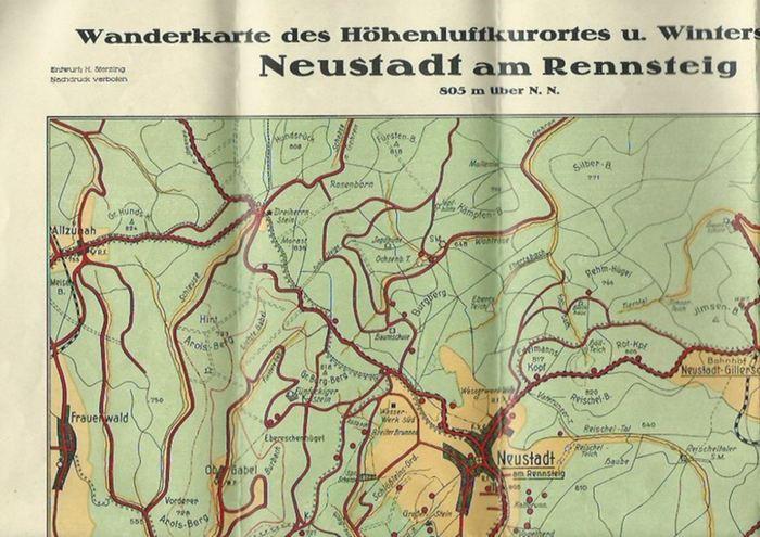 Sterzing, H.: Wanderkarte des Höhenluftkurortes und Wintersportplatzes Neustadt am Rennsteig. Maßstab 1:33 333.