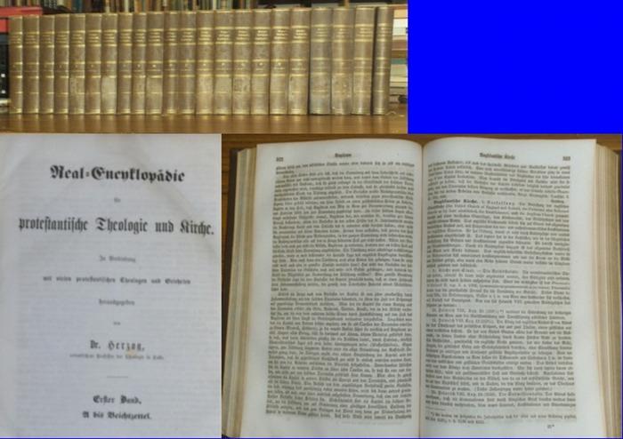 Herzog, Johann Jakob (1805 - 1882) (Hrsg.): Real-Encyklopädie für protestantische Theologie und Kirche. In Verbindung mit vielen protestantischen Theologen und Gelehrten herausgegeben. Komplett in 22 Bänden (21 Bände plus Generalregisterband).