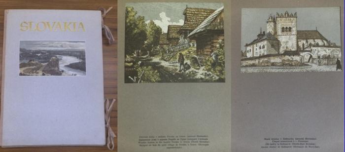 Vik, Karel , Horak, Anna G. : Slovakia. Mit 57 ganzseitigen und montierten Farbholzschnitten (von K. Vik ? )auf grauem Karton. Exemplar ungebunden mit beigefügten OHLwd.-Decken versehen.