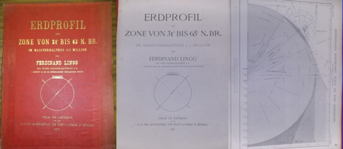 Lingg, Ferdinand (Kgl.Bayer.Ingenieur-Hauptmann a.D.): Erdprofil der Zone von 31° bis 65° N.Br. im Massverhältnis 1:1 Million von F. Lingg.