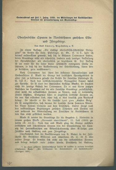 Schwarz, Ernst: Obersorbische Spuren in Nordböhmen zwischen Elbe und Isergebirge. Sonderabdruck aus Heft 1, Jahrgang 1930, der Mitteilungen des Nordböhmischen Vereines für Heimatforschung und Wanderpflege.