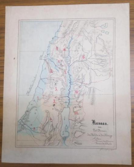 Kanaan. - N. N. : Kanaan zur Zeit Josuas, der Richter und der Könige. Farbig gezeichnete Karte.