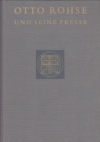 """Rohse, Otto.- Hack, Bertold und Schwarz, Herta (Hrsg.): Otto Rohse und seine Presse. Im Innendeckel ein montiertes Ex Libris """"Hartmut Walravens""""."""
