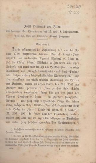 Bodemann, Eduard: Jobst Hermann von Ilten. Ein hannoverscher Staatsmann des 17. und 18. Jahrhunderts.