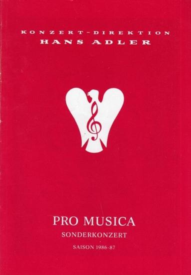 Deutsche Oper Berlin. Andre, Maurice (Trompete) / Bilgram, Hedwig (Orgel). - Pro Musica. Sonderkonzert. Saison 1986 / 1987. Albinoni, Tomaso - Bach, J. S. - Hertel, J.W. - Händel, G.F. - Krebs, J.L.