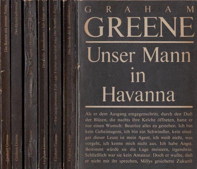 Greene, Graham: Konvolut bestehend aus 7 Titeln, enthalten sind: 1) Unser Mann in Havanna. 2) Die Stunde der Komödianten. 3) Ein ausgebrannter Fall - Dr. Fischer aus Genf oder Die Bomben-Party. 4) Der stille Amerikaner - Ich klage an. 5) Spiel im Dunke...