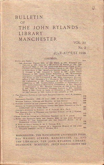 Bulletin John Ryland - Henry Guppy (ed.): Bulletin of the John Rylands Library Manchester Vol. 20, N° 2. July- August 1936.