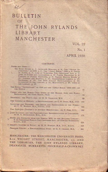 Bulletin John Ryland - Henry Guppy (ed.): Bulletin of the John Rylands Library Manchester Vol. 22, N° 1. April 1938.