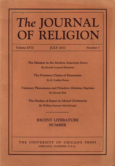 Journal of Religion, The - Shirley Jackson Case (Ed.): The Journal of Religion. Volume XVII, July 1937, Number 3.