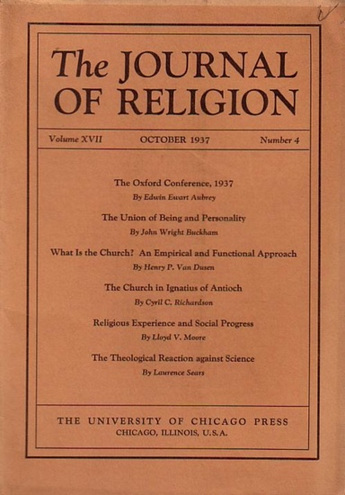Journal of Religion, The - Shirley Jackson Case (Ed.): The Journal of Religion. Volume XVII, October 1937, Number 4.
