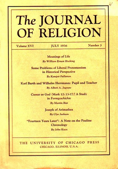 Journal of Religion, The - Shirley Jackson Case (Ed.): The Journal of Religion. Volume XVI, July 1936, Number 3.
