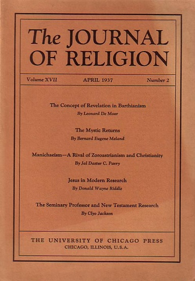 Journal of Religion, The - Shirley Jackson Case (Ed.): The Journal of Religion. Volume XVII, April 1937, Number 2.