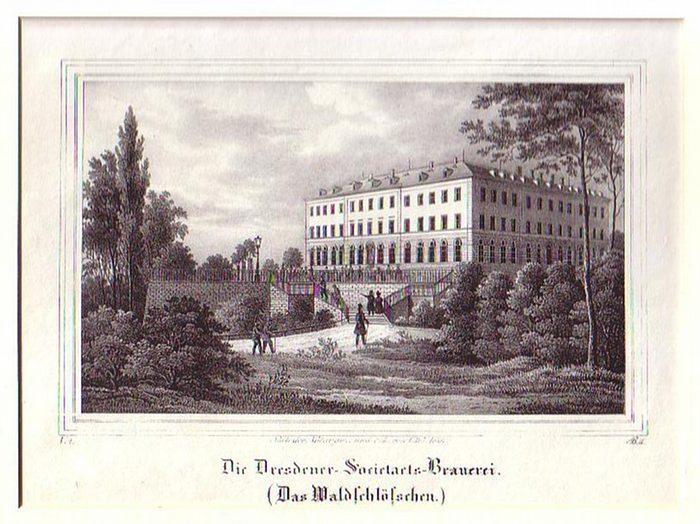 Dresden. - Lithographie. C. W. Arldt: Die Dresdener-Societaets-Brauerei. (Das Waldschlößchen).