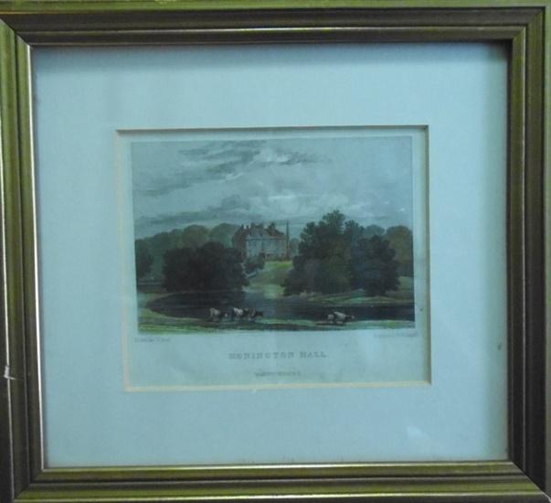 Neal, J.P. (Drawn by…) und Radclyffe, W. (Engraved by…): Honington Hall. Warwickshire. Original colorierter Stahlstich im Rahmen.