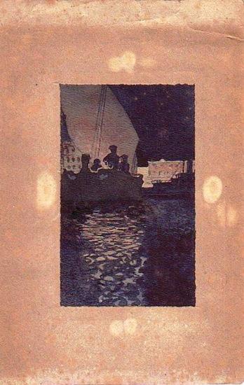 Tuschzeichnung- signiert: Tuschzeichnung - Männer in einem Boot auf einem Fluß [Rhein] unter einer Brücke [Köln] nachts.- rückseitig signiert- aber nicht zu entziffern.
