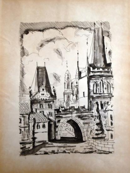Original-Aquarell-signiert: Praha 80 Karlsbrücke mit Altstädter Brückenturm-Zeichnung.