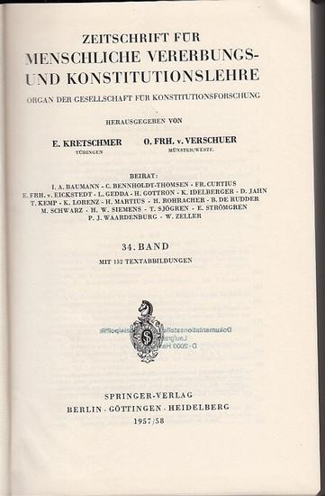 Zeitschrift für [angewandte Anatomie und] Konstitutionslehre. - Herausgegeben von J. Tandler, A. Frhr. Von Eiselsberg, A. Kolisko, F.Martius, F. Chvostek, H. Braus, E.Kallius, G. Just, K.H. Bauer, E. Kretschmer und O. Frhr. V. Verschuer: Vierunddreißig...
