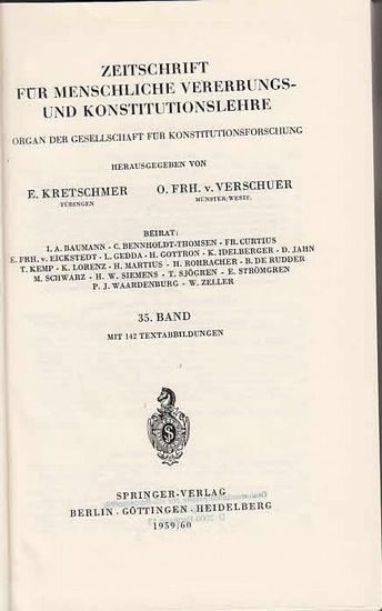 Zeitschrift für [angewandte Anatomie und] Konstitutionslehre. - Herausgegeben von J. Tandler, A. Frhr. Von Eiselsberg, A. Kolisko, F.Martius, F. Chvostek, H. Braus, E.Kallius, G. Just, K.H. Bauer, E. Kretschmer und O. Frhr. V. Verschuer: Fünfunddreißig...