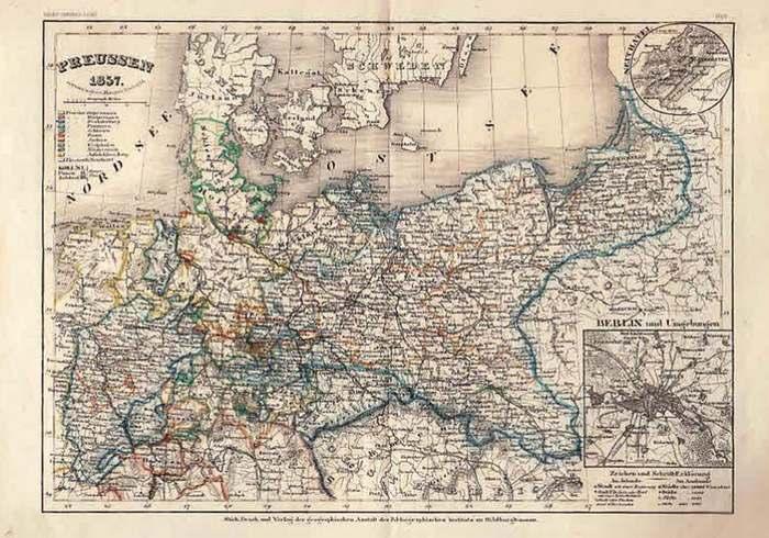 Radefeld, Hauptmann (entworfen und gezeichnet von): Stahlstich. Grenzcolorierte Karte von Preussen 1857. mit Detailkarten Berlin und Umgebung und Neuchatel. (Neues Conversationslexikon) No. 102.