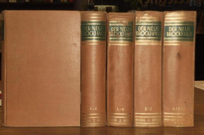 Brockhaus. - Der Neue Brockhaus. Allbuch in vier Bänden und einem Atlas. Mit über 10000 Abbildungen und Karten im Text und auf etwa 1000 einfarbigen und bunten Tafel-und Kartenseiten, sowie einem zerlegbarem Modell im 3. Band.