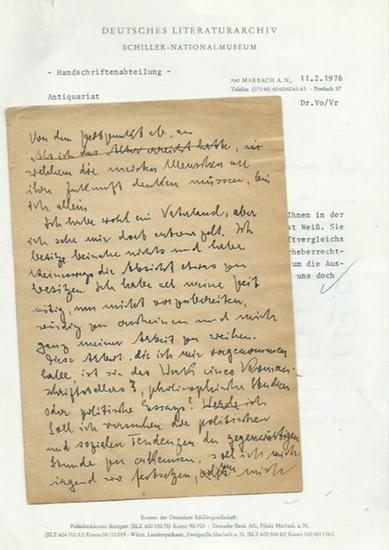 Weiß, Ernst (österreichischer Arzt und Schriftsteller, 1882-1940): Handschriftlicher biographischer Entwurf von Ernst Weiß.