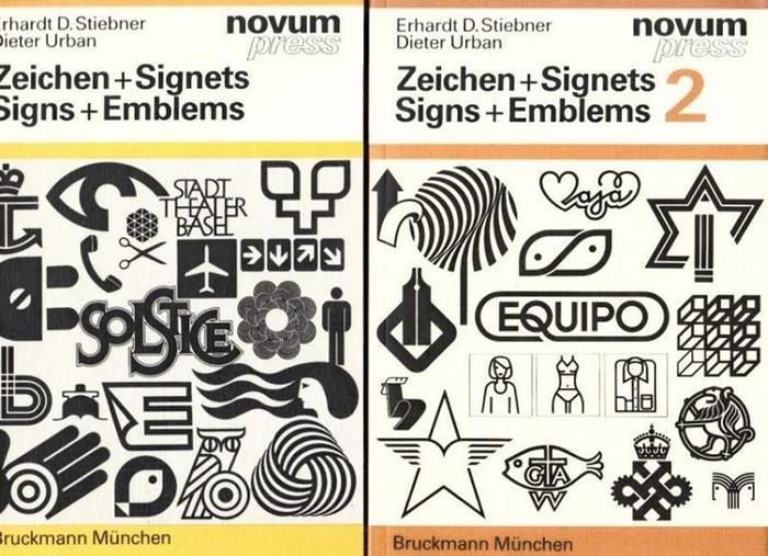 Stiebner, Erhardt, D. / Dieter Urban: Zeichen + Signets - Signs + Emblems. Band 1 und 2. Eine Sammlung internationaler Beispiele. A collection of international Examples. Komplett in 2 Bänden.