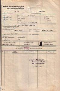 Coburg - Auskunft aus dem Strafregister der Staatsanwaltschaft zu Coburg: 'Im Strafregister sind keine Verurteilungen über Barbara Kurz, Hochstadt' eingetragen. Gestempelt und unterzeichnet - 23. Januar 1941, mit Briefmarken und Staatsanwalts...