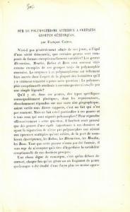 Crépin, Francois: Sur le polymorphisme attribué a certains groupes génériques. Extrait du Compte-rendu de la seance du 11 fevrier 1888 de la Sociéte royale de botanique de Belgique. Bulletin, tome XXVII, deuxieme partie.