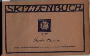 Hanne, Günter: Skizzenbuch von Günter Hanne, 1920 - 1930. 11 Feder- und Bleistift-Zeichnungen und 1 Aquarell auf Karton der Firma Union-Lehrmittel, Stuttgart, Berlin.