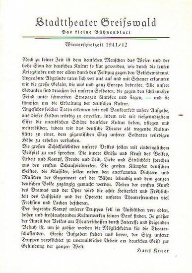 """Stadttheater Greifswald - H.Coubier / Koch (Int.) / Suhr (Regie) / Kneer (Hrsg.): Stadttheater Greifswald - Das kleine Bühnenblatt 1941 / 1942 Präsentiert die Komödie """"100 Millionen Dollars"""". Herausgegeben von Dr.Claus Dietrich Koch und Hans ..."""