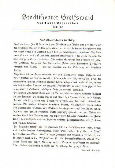 """Stadttheater Greifswald - R.Keßler / Koch (Int.) / Kneer (Hrsg.): Stadttheater Greifswald - Das kleine Bühnenblatt 1941 / 1942 Präsentiert das Musikalische Lustspiel """"Die Frau ohne Kuß"""". Herausgegeben von Dr.Claus Dietrich Koch und Hans Kneer..."""