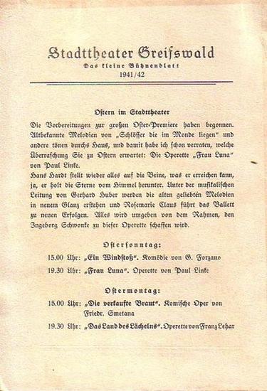 """Stadttheater Greifswald - W.Kollo / Koch (Int.) / Hardt (Regie) / Kneer (Hrsg.): Stadttheater Greifswald - Das kleine Bühnenblatt 1941 / 1942 Präsentiert die SchwankOperette """"Die tolle Komteß"""". Herausgegeben von Dr.Claus Dietrich Koch und Han..."""