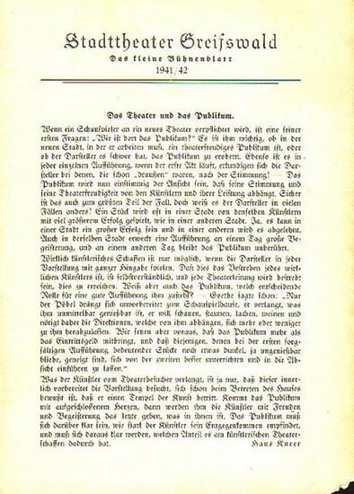 """Stadttheater Greifswald - W.Kollo / Koch (Int.) / Hardt(Regie) / Kneer (Hrsg.): Stadttheater Greifswald - Das kleine Bühnenblatt 1941 / 1942 Präsentiert die Operette """"Wie einst im Mai"""". Herausgegeben von Dr.Claus Dietrich Koch und Hans Kneer."""