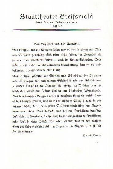 """Stadttheater Greifswald - C.Götz / Koch (Int.) / Dommisch(Regie) / Kneer (Hrsg.): Stadttheater Greifswald - Das kleine Bühnenblatt 1941 / 1942 Präsentiert die Komödie """"Ingeborg"""". Herausgegeben von Dr.Claus Dietrich Koch und Hans Kneer."""