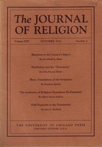Journal of Religion, The - Shirley Jackson Case (Ed.): The Journal of Religion. Volume XIII, October 1933, Number 4.