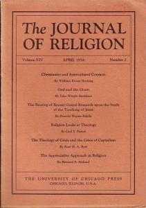 Journal of Religion, The - Shirley Jackson Case (Ed.): The Journal of Religion. Volume XIV, April 1934, Number 2.