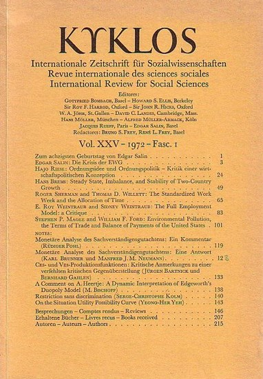 Kyklos: Kyklos. Internationale Zeitschrift für Sozialwissenschaften - Revue internationale des sciences sociales - International Review for Social Sciences. Vol. XXV - 1972 - Fasc. 1.