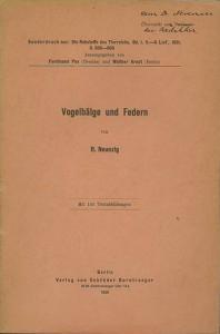 Neunzig, Rudolf: Vogelbälge und Federn.