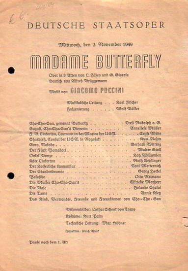 Puccini, Giacomo // Deutsche Staatsoper Programm der Deutschen Staatsoper für Mittwoch, den 2. November 1949 - Madam Butterfly