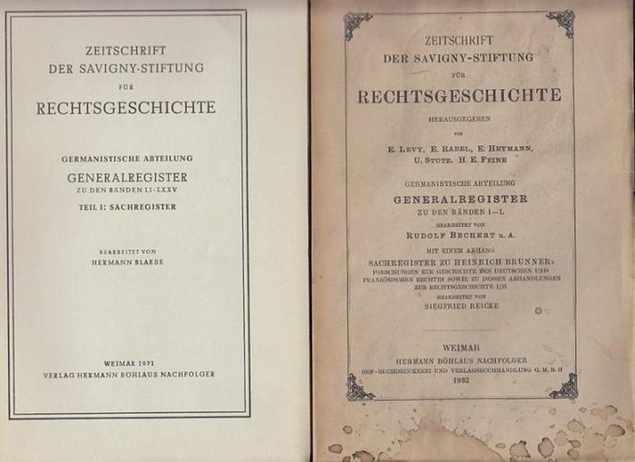 Zeitschrift der Savigny - Stiftung für Rechtsgeschichte. - Bechert, R. / Blaese, H. (Bearb.): Generalregister zu den Bänden I - LXXV zur Zeitschrift der Savigny - Stiftung für Rechtsgeschichte. Germanistische Abteilung in 3 Bänden.