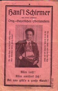8 Blatt. Rosafarbenes Papier mit Porträt Schirmer.Originalheft. 8°. Papier teilweise vergilbt. Letztes Blatt am Rand geklebt. Am Titelblatt fehlt die untere Ecke. Sonst noch gut erhalten.