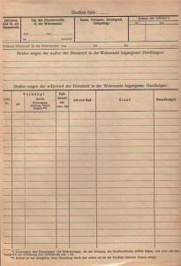 Strafliste - Formular: Strafliste - Strafen wegen der während der Dienstzeit in der Wehrmacht begangenen Handlungen. Blanco - Formular.